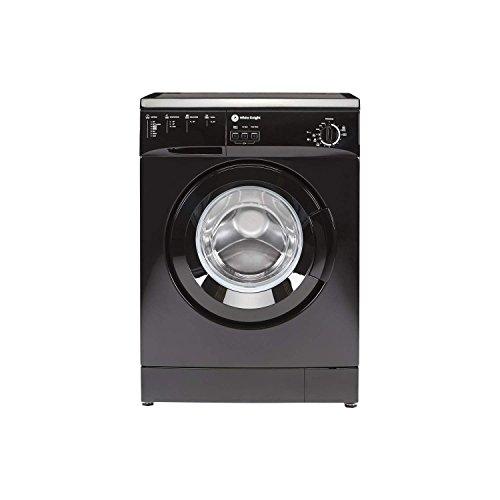 White Knight WM105VB Freestanding Front Loading Washing Machine, 5 kg, 1000 RPM, A+, Black, Left