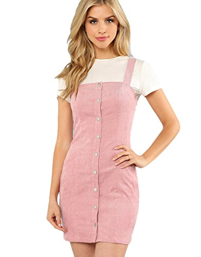 Floerns Women's Cute Strap Button up Corduroy Overall Sheath Pinafore Dress Pink XS