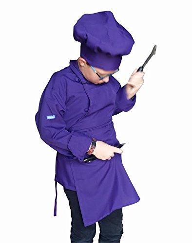 CHEFSKIN 1 Apron + 1 Adjustable Chef Hat, Soft, Live Colors, Ulltra Light Fabric, Kids Love Them (Teens/Adult, Purple)