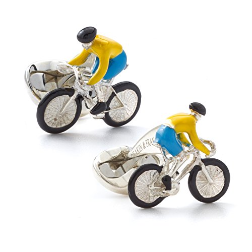 Deakin and Francis Men's Yellow and Blue Bike Rider Cufflinks by Deakin and Francis