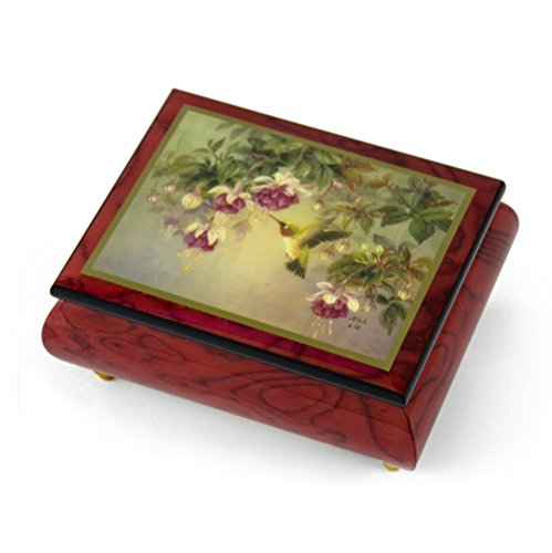 Handcrafted Ercolano Music Box Featuring ''Hummingbird W. Fuchsia'' by Lena Liu - .0 Holy Night by MusicBoxAttic