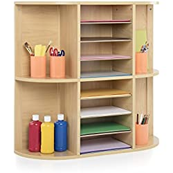 Guidecraft Display and Storage Center, School Supply Book and Award Organizer Shelves, Kids Furniture
