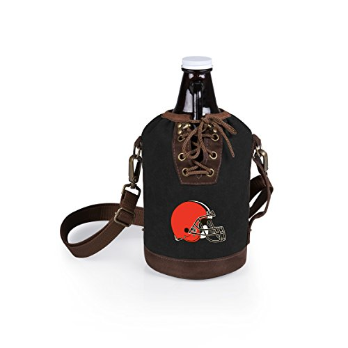 PICNIC TIME NFL Cleveland Browns Canvas Lace-up Growler Tote with 64 oz Amber Glass Growler, Black
