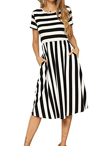 levaca Women's Striped Short Sleeve Flowy Pockets Modest