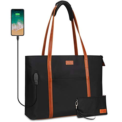 Laptop Tote Bag for Women Teacher Work Office USB Bags Fits 15.6 inches Laptop (Black and Brown Strap) from Relavel