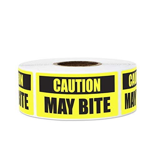 600 Labels - Caution May Bite Stickers Labels for Safety Dog Warning Guard Dog Animal Warning (2 x 1 Inch, Yellow - 2 Rolls)