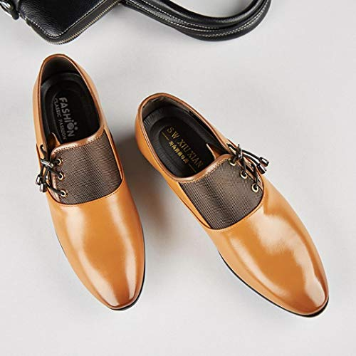 Oxford Cuero QinMM Amarillo Vestir Boda Cordones Hombre Negocios Zapatos Calzado pFaqgwFRS