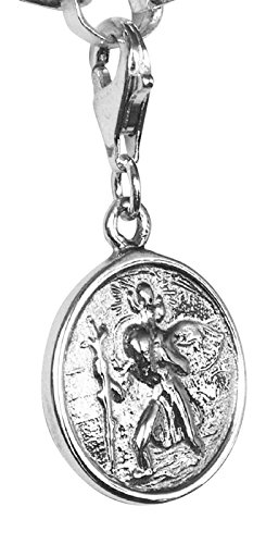 07090a588 Sterling Silver Clip On St.Christopher Charm: Amazon.co.uk: Jewellery