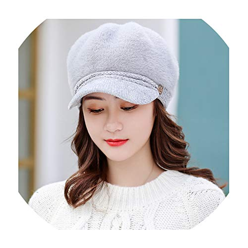 Rabbit Fur Women Beret Autumn Winter Octagonal Cap Hats Stylish Artist Painter Newsboy Caps Black Grey Wool Beret Hats
