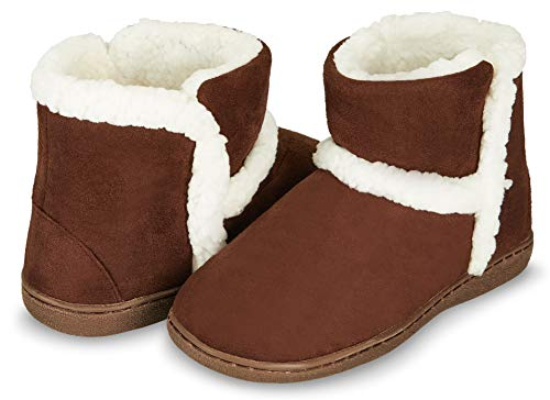 Floopi Womens Indoor Outdoor Bootie Slipper - Sherpa Fur Lined Clog W/Memory Foam (L, Brown-201)