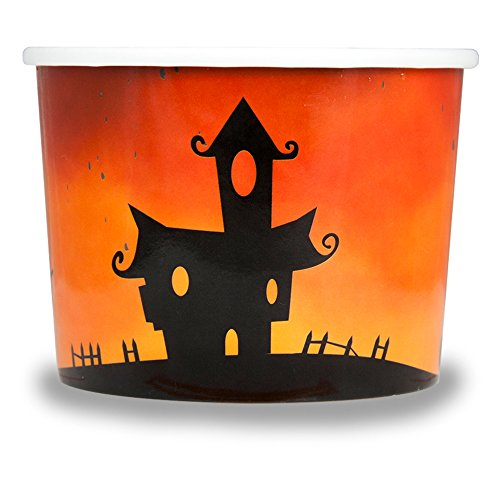Halloween Themed Paper Dessert Cups - 12 oz Holiday Ice Cream Bowls - Orange Spooky Themed Paper Ice Cream Cups - Frozen Dessert Supplies - Fast Shipping! 50 Count by Frozen Dessert Supplies (Image #2)