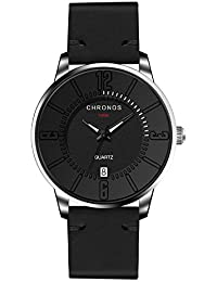 Men Watches Clearance Sale,Fashion Leather Band Alloy Case Calendar Analog Quartz Round Dress Wrist Watch (Black)