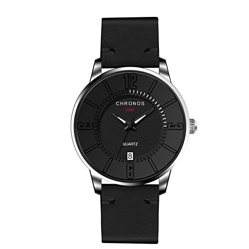 POTO Men Watches Clearance Sale,Fashion Leather Band Alloy Case Calendar Analog Quartz Round Dress Wrist Watch (Black)