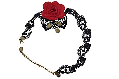 Flamenca Muerta Halloween (Sanrich Black Lace Choker Necklace Gothic with Red Rose Flower Collar with Pendant Outfit Flamenco Costumes for Halloween Party Holiday)