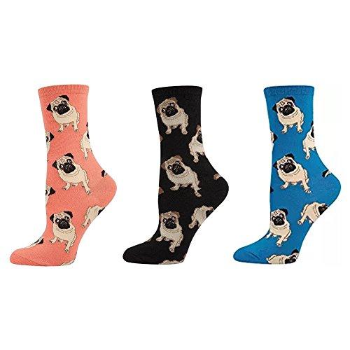 Socksmith Women's Pug Sock Combo 3 Pack (1 Pair Each: Peach, Blue, Black)