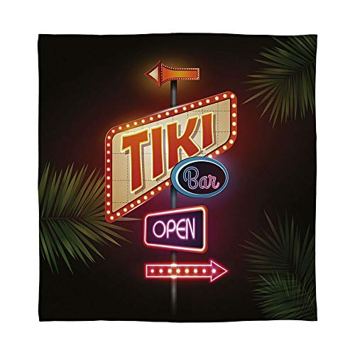 - YOLIYANA Fine Flannel Blanket,Tiki Bar Decor,for Home Travel Camping,Size Throw/Twin/Queen/King,Old Fashioned Neon Signs Illustration Open Bar