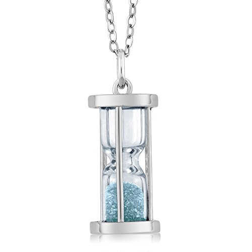 - Gem Stone King Sterling Silver Aquamarine Dust Hourglass Pendant Necklace 0.75 Ct with 18 Inch Silver Chain
