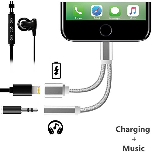 2 in 1 Lightning to 3.5mm Headphone Jack Adapter, iAbler Charger and 3.5mm Earphone Jack Cable Adapter AUX (No Music Control) for iPhone 7 / 7 Plus Converter For iPhone7 7plus