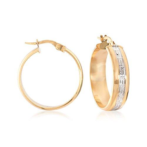 - Ross-Simons Italian 14kt Two-Tone Gold Greek Key Hoop Earrings.