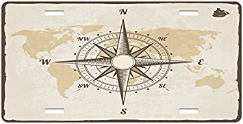 High Gloss Aluminum Novelty Plate Beige Tan and Brown Lunarable Nautical License Plate Compass on World Map with Continents Africa America Antique Adventure 5.88 X 11.88