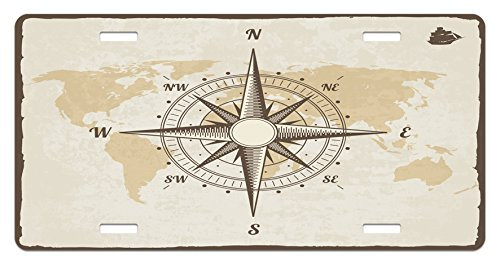 Lunarable Nautical License Plate, Compass on World Map with Continents Africa America Antique Adventure, High Gloss Aluminum Novelty Plate, 5.88 L X 11.88 W Inches, Beige Tan and Brown