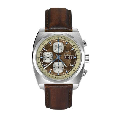 (Zodiac Men's Seadragon Stainless Steel Swiss-Automatic Watch with Leather Calfskin Strap, Brown, 22 (Model: ZO9913))