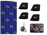 NFL Baltimore Ravens 18 Piece Bath Ensemble: Set Includes 1 Shower Curtain, 12 Shower Hooks, 4 Bath Towels 1 Bath mat