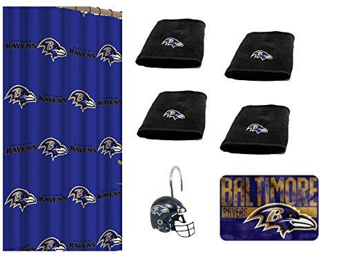 The Northwest Company NFL Baltimore Ravens 18 Piece Bath Ensemble: Set Includes 1 Shower Curtain, 12 Shower Hooks, 4 Bath Towels 1 Bath mat Baltimore Ravens Shower Curtain