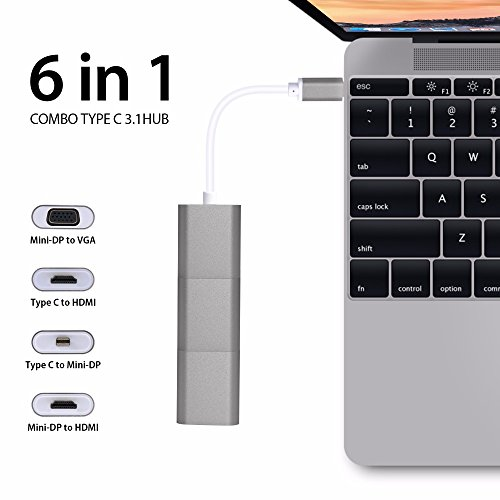 Auslese 6 In 1 USB C To HDMI VGA Mini Dp+Mini Dp To HDMI+HDMI To VGA Adapter Converter Aluminum Type C Multiport Hub Rose Gold by Auslese