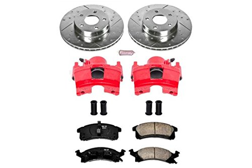 (Power Stop KC3156 Z23 Evolution Sport 1-Click Brake Kit with Powder Coated Calipers (Brake Pads, Drilled/Slotted Rotors))
