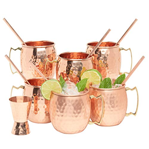 Kitchen Science Moscow Mule Copper Mugs 16 Ounce with 6 Straws and Jigger Set -