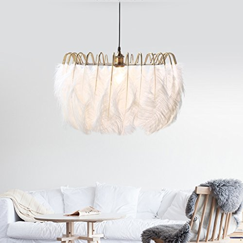 HUANGDA Chandelier Modern Feather Chandelier Romantic Metal Dining Room Living Room Ceiling Lamp Children Room Eye Care Pendant Light, 60 40cm