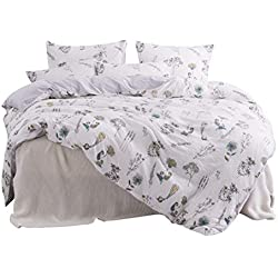 ughome Kids Flower Twin Duvet Cover Set, Floral White Bedding Set Soft Lightweight Microfiber Washed Cotton Technology Comforter Cover with 2 Pillowcases and 1 Duvet Cover(Twin, White)