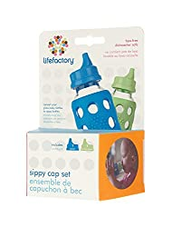 Lifefactory BPA-Free Spillproof Sippy Caps for 4 & 9-Ounce Glass Baby Bottles,  Ocean/Spring Green, Set of 2