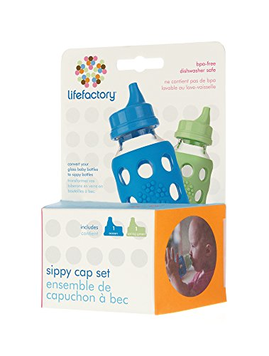 Lifefactory Spillproof Sippy Caps 2-Pack for 4-Ounce and 9-Ounce BPA-Free Glass Baby Bottles, Ocean and Spring Green