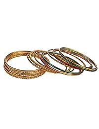 Efulgenz Fashion Jewelry Indian Bollywood Gold Plated Multicolor Simple Plain Crystal Bracelet Bangle Set (18 Pcs)