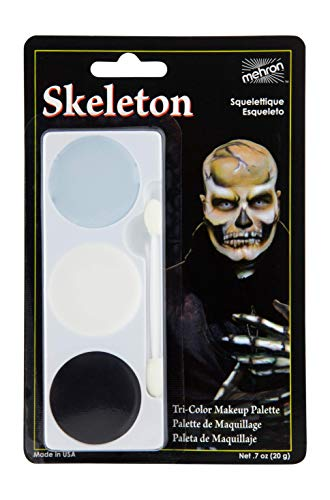 Mehron Makeup Tri-Color Halloween Makeup Palette (Skeleton) -