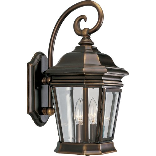 Progress Lighting P5671-108 2-Light Wall Lantern with Clear Beveled Glass Panels and Scroll Arm Details, Oil Rubbed Bronze
