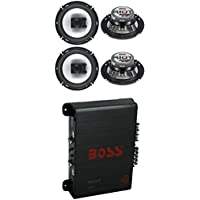 4) Boss R63 6.5 300W 3 Way Coaxial Speakers +R1004 400W 4 Channel Amplifier Amp