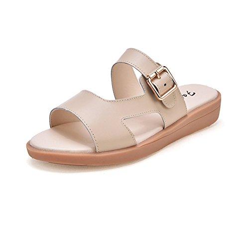 Btrada Mujeres Casual Sandals Antideslizante Pisos Verano Zapatillas Soft Zapatos Beige