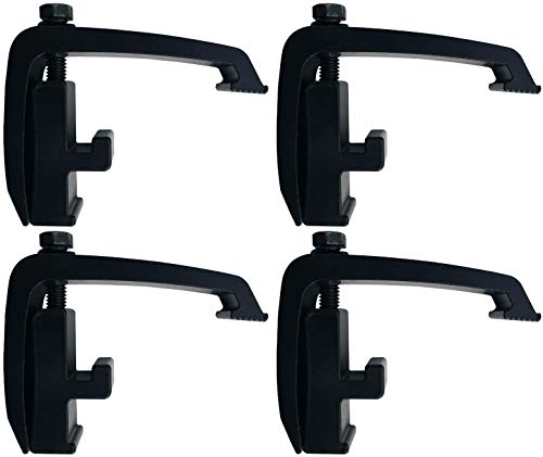 (4 Pack) Black Toyota Tacoma, Nissan Titan - Mounting Channel Track Truck Topper Cap, Camper Shell Clamps