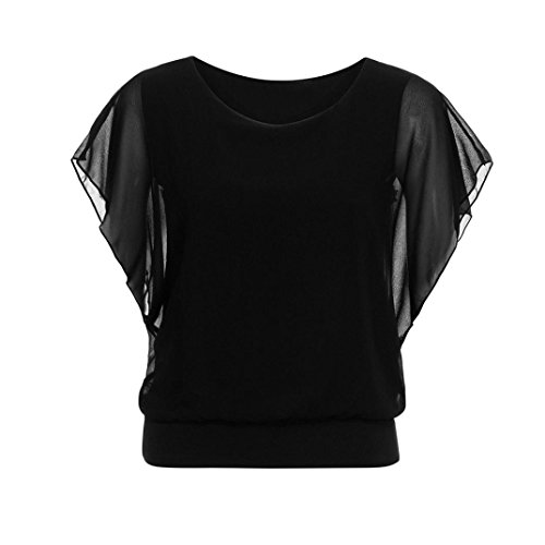 927d47150ce2e iTLOTL Women s Loose Casual Short Sleeve Batwing Sleeve Chiffon Top T-Shirt  Blouse(S