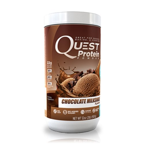 Quest Nutrition Protein Powder, Chocolate Milkshake, 23g Protein, 88% P/Cals, 0g Sugar, 2g Net Carbs, Low Carb, Gluten Free, Soy Free, 2lb Tub