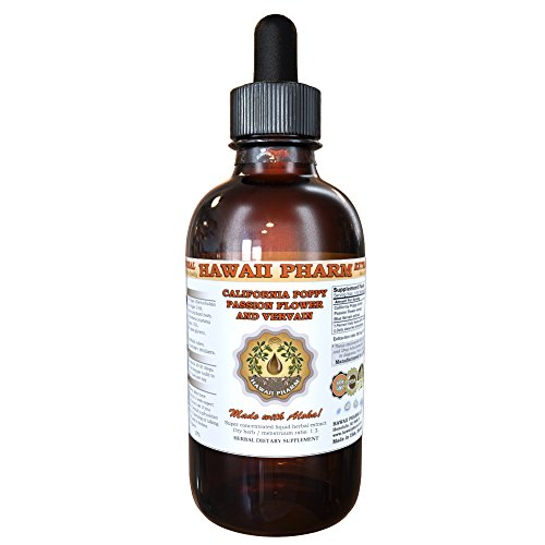 Organic California Poppy, Passionflower and Blue Vervain Liquid Extract Tincture 4 oz (Poppy Tincture)