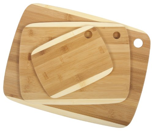 Core Bamboo Classic Two-Tone Board Combo Pack, Natural, Small/Medium/Large