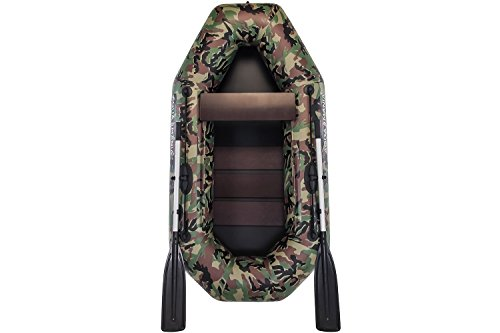 Aquamania Inflatable Boat Model A-210 - One Person 265 lb Capacity - 83 inches - Includes Raft Dinghy (Camouflage), Aluminum Oars, Pump, Repair Kit - Manufacturer Warranty