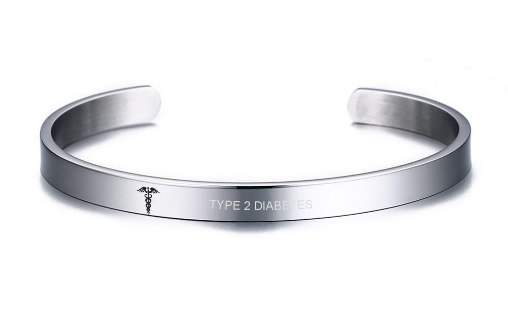 VNOX TYPE 2 DIABETES Medical Alert ID Stainless Steel Cuff Bangle Bracelet for Women Girl,8MM Width