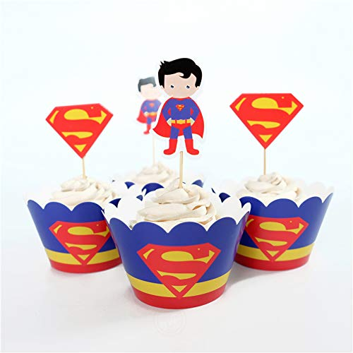 Astra Gourmet Superman Cupcake Toppers and Wrappers Birthday Party Supplies for Superhero Party Decoration - Set of 24 -
