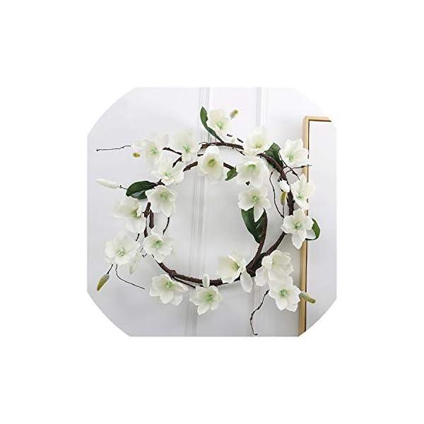 Simulation Chalcedony Magnolia Vine Foam Dry Branch Magnolia Strip Artificial Flower Home Wedding Decoration Fake Flower,White