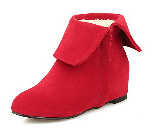 Zipper Frosted Red Heels Kitten Closed Toe Women's Boots Top Low AgooLar Round agfxntwqn1